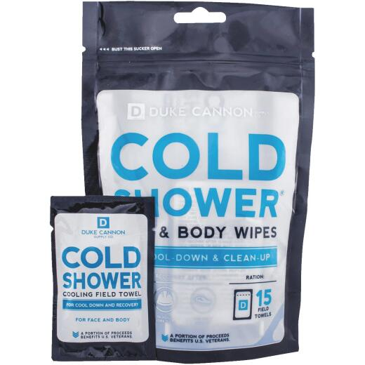 Duke Cannon Cold Shower Face & Body Wipe (15 Count)